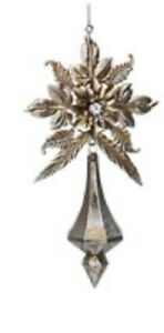 Gold & Diamante Floral Decoration with Icicle Drop, Gisela Graham