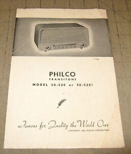 1948 PHILCO TRANSITONE Model 50-520 or 50-5201 Radio Owner's Manual
