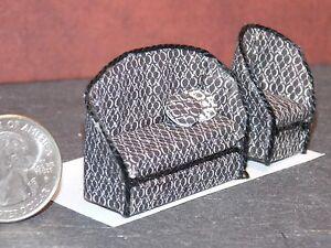 Dollhouse Miniature Black & White Sofa Chair 1:48 Quarter 1/4 F48 Dollys Gallery