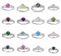 .925 Sterling Silver 9MM IRISH HEART SHAPED CZ CLADDAGH DESIGN RINGS SIZES 4-12