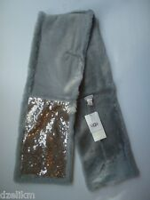 NWT UGG Australia Sequin Shearling Scarf in Light Gray