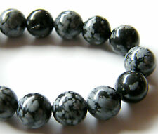 50pcs 8mm Round Natural Gemstone Beads - Snowflake Obsidian