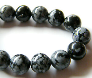 40pcs 10mm Round Natural Gemstone Beads - Snowflake Obsidian