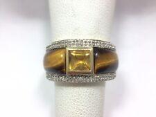 Modern Citrine Tiger Eye Diamond Wide Band Ring Size 7 10k Yellow Gold FMGE