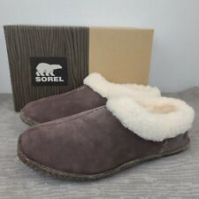 Sorel Womens Nakiska Lined Slippers Gray Brown Hawk New with box