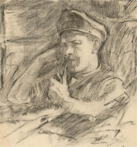 Early 20th Century Charcoal Drawing - The Captain Contemplates