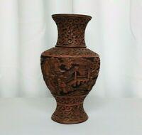 "Vintage Chinese Carved Red Cinnabar Flower Vase 7"" Oriental Antique"