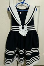 Girls size 6X Navy Style blue and white Jessica Ann Sailer dress NWT