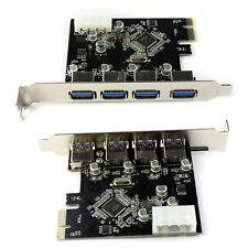 4-Port USB 3.0 PCI-E Express Card Carte d'extension Adaptateur VIA 5 Gbps Bon
