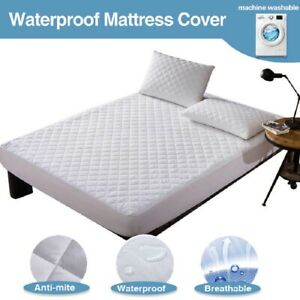 100% MICROFIBER WATERPROOF QUILTED MATTRESS PROTECTOR TOPPER DOUBLE KING SIZES