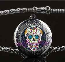 Black Sugar Skull Photo Glass Gun Black Chain Locket Pendant Necklace