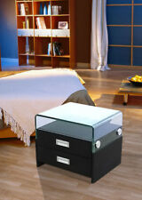 Greatime NL2004 Black modern two drawers nightstand with Glass on top