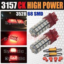 2x 3157 SRCK Socket 68SMD Red Parking Rear Turn Signal LED Light Bulbs+Resistors