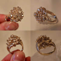 2.00 Cttw Round Cut Diamond 14k Real Yellow Gold Cluster Engagement Wedding Ring