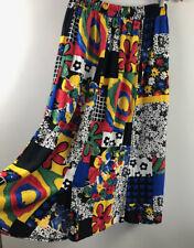 Vintage 80s SKIRT 14 patchwork print midi primary colours elastic waist