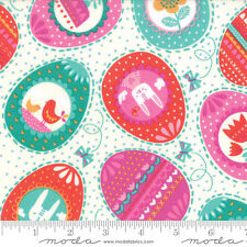 By 1/2 Yard Moda Fabric Spring Bunny Fun ~ Easter Eggs Cream ~ Rabbit Aqua Pink
