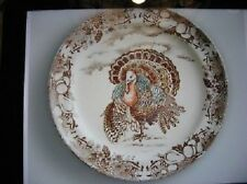 Pottery Barn Set 4 Traditional Turkey Salad Plates Dessert Thanksgiving NIB