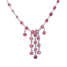 De Buman 15.31g Sterling Silver Tear Drop Pink Red Ruby Necklace, 16.5 inches