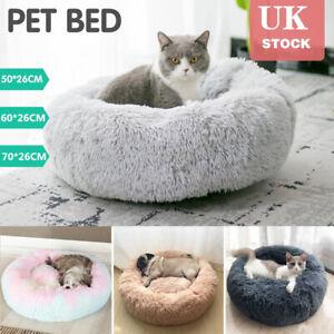 S-XL Pet Dog Cat Calming Beds Comfy Shag Warm Fluffy Bed Nest Mattress Donut Pad