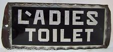 Antique Ladies Toilet Chip Glass Sign L'adies thick scalloped edge tin frame adv