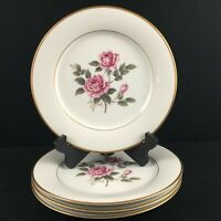 Set of 4 VTG Dinner Plates Noritake Lindrose Pink Rose Floral 5234 Gold Japan