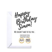 Personalised Birthday scratch off card reveal surprise greetings announcement