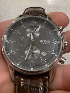 Gorgeous Hugo Boss 1512570 Mens Chrono Watch; Brown Leather Band & Gunmetal Dial
