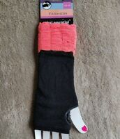 LADIES LONG Knitted FINGERLESS GLOVES BLACK Acrylic Blend NEW