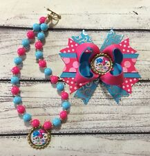 Shimmer And Shine Hair Bow And Chunky Necklace/ Bubblegum Necklace Set