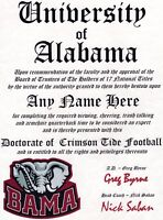 ROLL TIDE FOOTBALL~ CERTIFICATE ~ DIPLOMA  ~ MAN CAVE ~ GREAT GIFT FUN