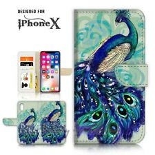 ( For iPhone X ) Wallet Case Cover P21495 Peacock
