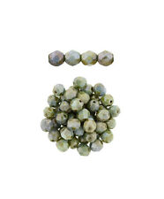 100 Opaque Green Luster Glass Fire Polished Faceted Beads 4MM