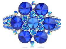 Lindo Océano Azul Zafiro Cristal Estrás Flor Pulsera Brazalete Banda