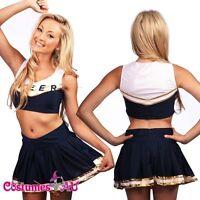 New Blue Girls Cheerleader Uniform Costume Full Outfits Fancy Dress S M L XL 2XL