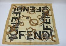 Fendi Vintage Handkerchief Scarf Bandanna Rare Gold Chain Luxury Pattern