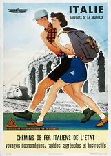 Affiche chemin de fer Italiens - Auberges de la Jeunesse