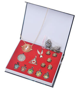 14pcs Harry Potter Golden Snitch Necklace Gryffindor School Ring Keychain In Box