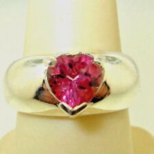 Stunning 1.55ct HEART-shape Hot Pink TOPAZ Sterling Silver 925 Band Ring sz 7.25