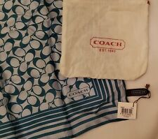 "Coach silk neck scarf - NWT & pouch - gray & teal blue - 21"" x 21"""