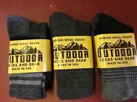 82% Super Soft Merino Wool Hiking Socks Pack of 3 - Made in USA M, black gray