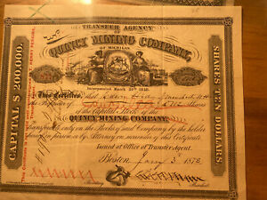 #202    1878 Quincy Mining Company Mining Stock Certificate