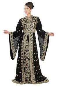 Exclusive Moroccan Black Kaftan Machine Embroidery Ari Work Takshita Var Dresses