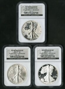 US Coins 2006 20th Anniversary ASE Silver Eagle 3 Coin Set NGC NO RESERVE!