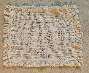 "Off-White Lace Doily Original Hand Crochet Handmade 20""x15"""