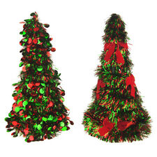 Christmas Tinsel Tree Cone Tabletop Topper, Red/Green, 10-Inch, 2-Piece