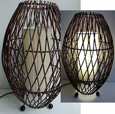 BALI BAMBOO WOOD RATTAN WICKER OVAL DESK LAMP LANTERN LIGHT BALINESE 42CM