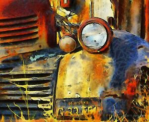 Headlight On A Retired Relic Abstract by Barbara Snyder Signed Old Car Canvas 🧡
