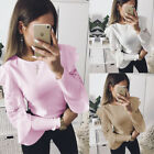 US New Women Lace Long Sleeve T-shirt Round Neck Blouse Casual Solid Loose Tops