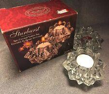 Vtg Indiana Glass Crystal Votive Set With 2 Candles Starburst White Star Shaped