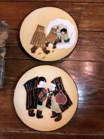 """PAIR Asian Plates Decorative Hand Painted Children Folklore 8.5"""" Each SIGNED"""
